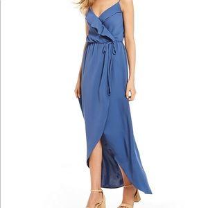 GB Ruffle Tie Front Maxi Dress Blue